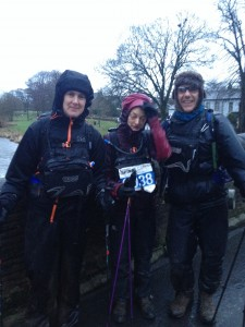 Sarah with fellow Spine Challengers, Clare Holdcroft and Peter Hutchinson